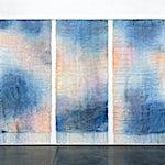 Aurora Passero: Diver, hand woven, hand dyed nylon, steel tubes, 2020, 314 x 424 cm