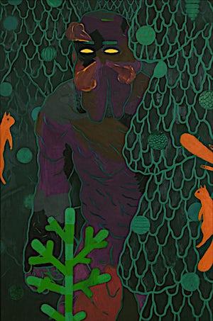 Christoffer Fjeldstad, Spruce and squirrels, 2011, 120 x 80 cm