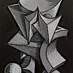 Christoffer Fjeldstad: Grey Skull, 2020, 59 x 45 cm