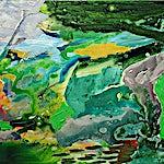 Dag Thoresen: Frodige Juni / ved en flod, 2001, 50 x 60 cm