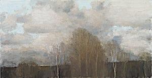 Halvard Haugerud, Skyer og trær, 2010, 40 x 77 cm