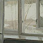 Halvard Haugerud: Utsikt gjennom åpent vindu, 2018, 26 x 33 cm