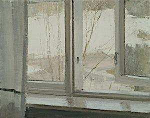 Halvard Haugerud: Utsikt gjennom et åpent vindu, 2018, 26 x 33 cm
