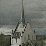 Halvard Haugerud: Eidsberg kirke, 2018, 34 x 36 cm