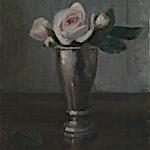 Halvard Haugerud: Roser i sølv, 2018, 28 x 22 cm