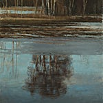 Halvard Haugerud: Speiling, tidlig vår, 2020, 45 x 37 cm