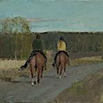 Halvard Haugerud: Ryttere i kveldsol, 2020, 28 x 36 cm
