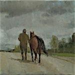 Halvard Haugerud: Mann og hest, 2020, 25 x 31 cm
