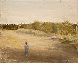 Halvard Haugerud, Gutt i kveldssol, 2005, 27 x 33 cm