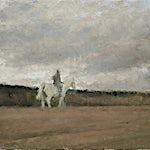 Halvard Haugerud: Rytter i landskap, 2007, 31 x 42 cm