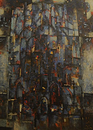 Halvdan Ljøsne, Blå katedral, 1993, 160 x 116 cm