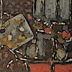 Halvdan Ljøsne: Interiør med palett, 1996, 47 x 114 cm