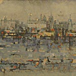 Halvdan Ljøsne: Morgon i hamn, 1993, 66 x 130 cm