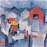 Halvdan Ljøsne: Gardstunet, 2003, 97 x 130 cm