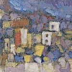Halvdan Ljøsne: Landsby om hausten, 2002, 26 x 47 cm