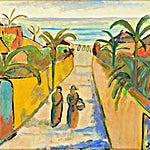 Johs. Rian: Gate i Antibes, 1950, 37 x 45 cm