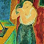 Johs. Rian: Kvinne med speil, 1948, 90 x 70 cm