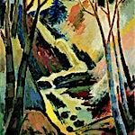 Johs. Rian: Landskap med foss, 1935, 82 x 65 cm