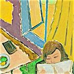 Johs. Rian: Pike som leser, 1949, 50 x 41 cm