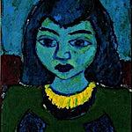 Johs. Rian: Pike med blått hår, 1949, 45 x 36 cm