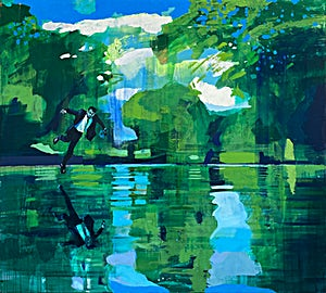 Kenneth Blom, The Pond, 2020, 170 x 190 cm