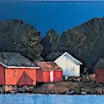 Magne Austad: tempera/akryl/olje, 2001, 90 x 180 cm