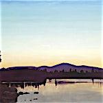 Marius Engstrøm: Golden lake, 2011, 114 x 146 cm