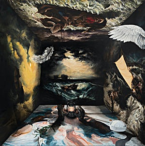 Munan Øvrelid,  A Throw of the Dice, oil on canvas, 2020, 190 x 190 cm