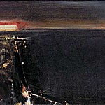 Ørnulf Opdahl: By ved havet, 2001, 50 x 100 cm