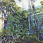Øystein Tømmerås: Volum 3.c (stål-og-glassfasade-i-kjølig-jungel-mix), 2011, 100 x 150 cm
