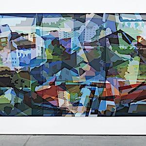 Øystein Tømmerås: Disintegration Blå (noisy-le-grand-mix), 2019, 200 x 360 cm