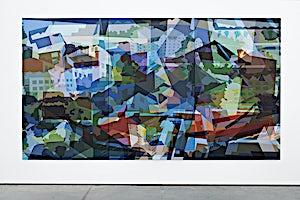 Øystein Tømmerås, Disintegration Blå (noisy-le-grand-mix), 2019, 200 x 360 cm