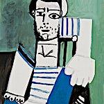 Pablo Picasso: L'HOMME AU MAILLOT RAYE, 1956, 100 x 81 cm