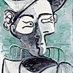 Pablo Picasso: Femme au chapeau assise, buste, 1962, 81 x 65 cm