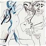 Pablo Picasso: L'homme à l'agneau et musicien, 1967, 50 x 60 cm