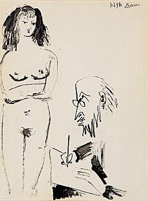 Pablo Picasso, Dessinateur et modéle, 1954, 32 x 24 cm