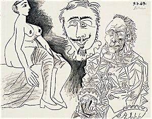Pablo Picasso, Nu assis, homme et tête, 1969, 50 x 64 cm