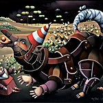 Terje Ythjall: Maskert dyr med hale (Til Uschi), 2002, 81 x 100 cm